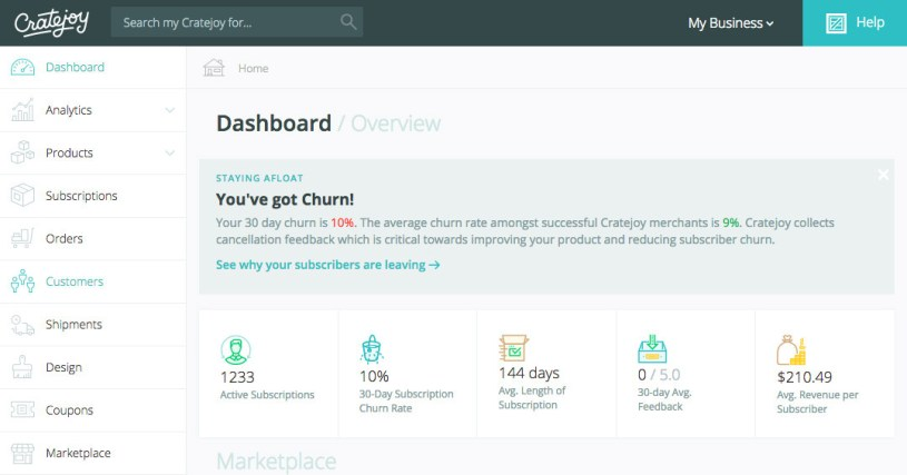 Cratejoy dashboard with stats to help you track churn.