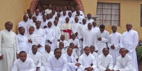 Group of seminarians with Archbishop Francois-Xavier Maroy Rusengo at St. Pius X Theologate in Murhesa - Formation of 74 seminarians, Theologat St Pie X, 2013-2014 DEM.REP. CONGO / BUKAVU 14/01075