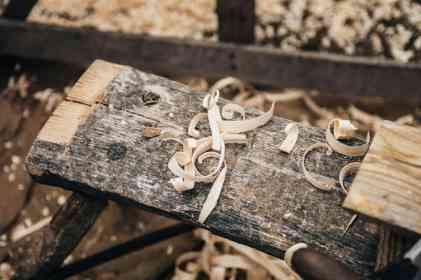 wood shavings in a workshop