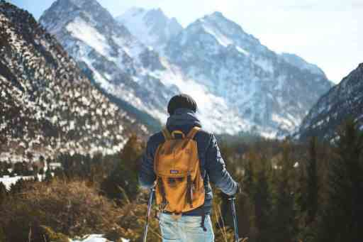 backpacker in the mountains