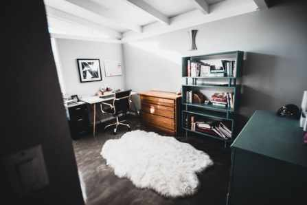 Home office with desk and chair