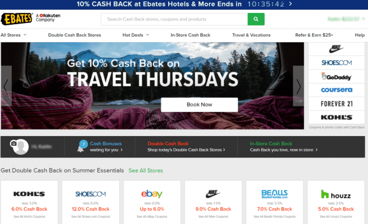 Ebates site home page