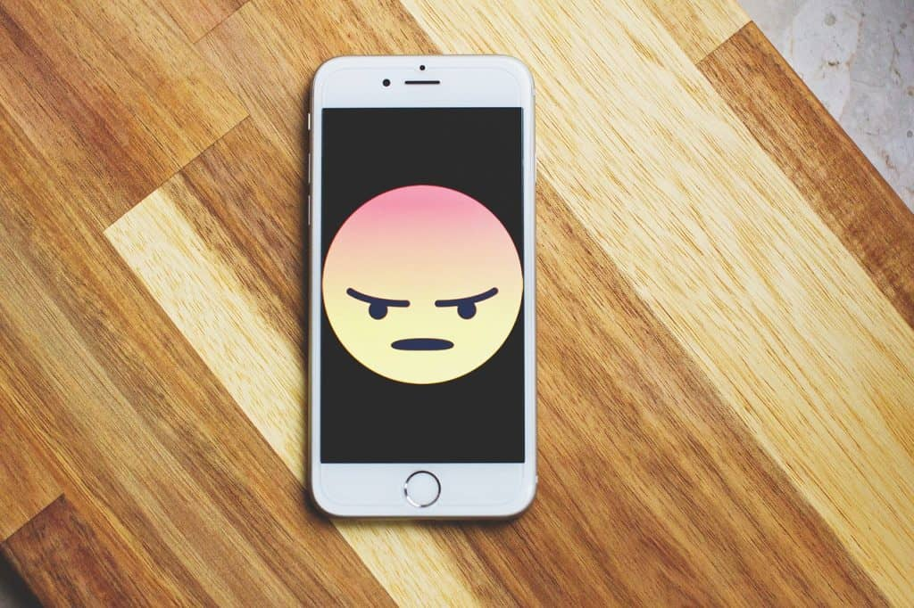 Phone with angry face