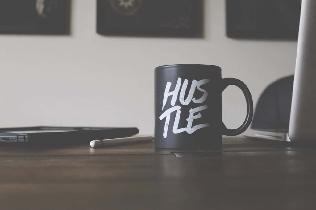 "Mug that says ""hustle"""