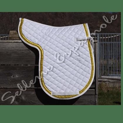 tapis dressage blanc contour dore