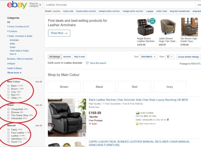 How eBay helps buyers to filter search results using item specifics options