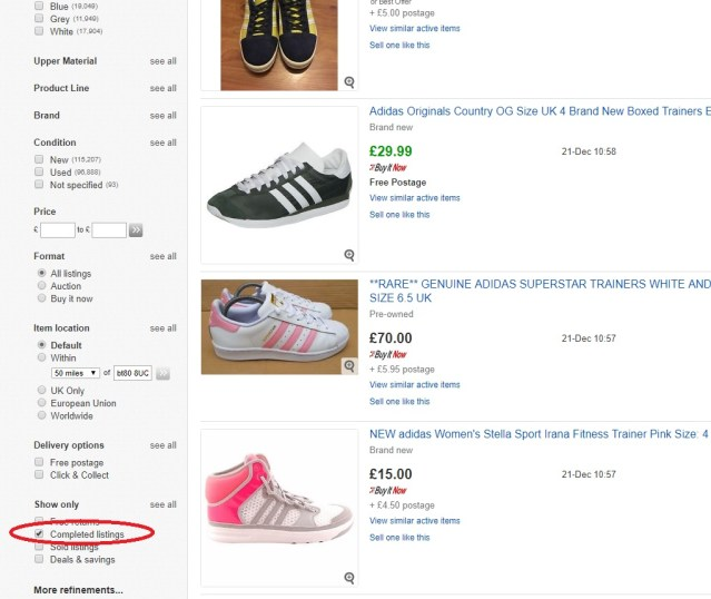 how to find completed listings option in search results on eBay