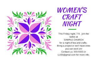 Women's craft class postcard, or flyer