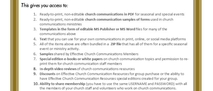 Reduced Membership Price In Effective Church Communications for your Clients