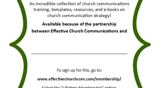 A Win for everyone! Discounted memberships in Effective Church Communications for your church clients