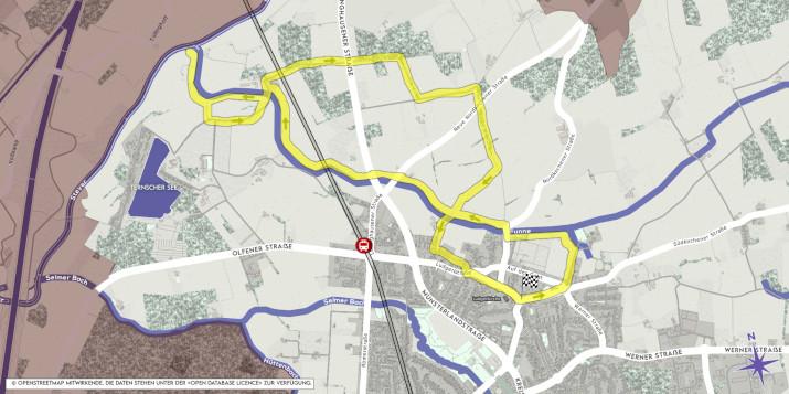 Karte Wanderung Funne Altstadt Selm