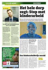 Foto van een advertorial in het dagblad Metro voor Stop Kinderarbeid.