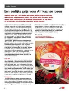 Foto van het artikel 'Een eerlijke prijs voor Afrikaanse rozen' in Hivos magazine.