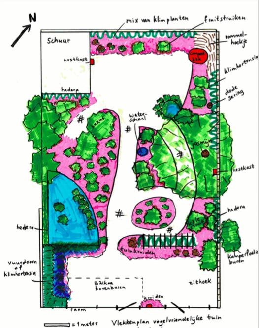 Voorbeeld van een vlekkenplan uit een tuinadvies.
