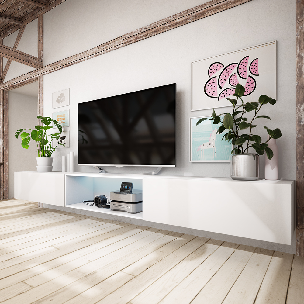 larka meuble tv suspendu avec led 300