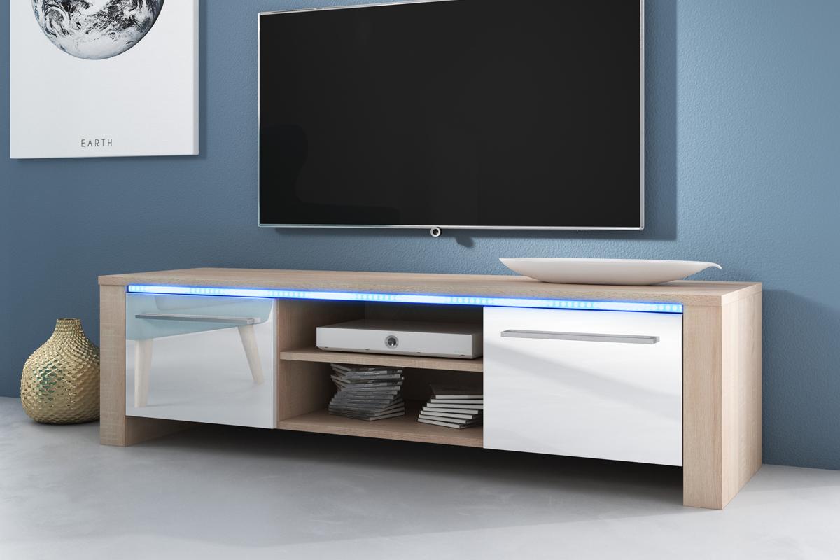 details sur messa meuble tv avec led bleue blanc noir effet chene 140 cm design salon table