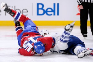 George Parros's head hitting the ice during fight with Colton Orr