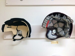 Comparison between standard hockey helmet and standard football helmet