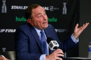 Bettman speaking at 2018 State of the League Address in Las Vegas
