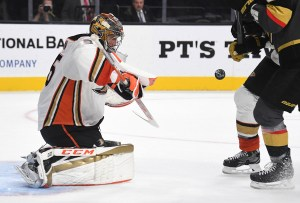 John Gibson in a game against the Vegas Golden Knights in October