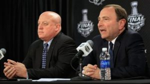 NHL Commissioner Gary Bettman (right) and Deputy Commssioner Bill Daly (left)