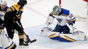 Jordan Binnington makes a save on Boston Bruins forward Marcus Johansson in Game 7 of the 2019 Stanley Cup Final