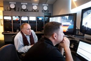 NHL officials reviewing video in the Player Safety video room, New York City