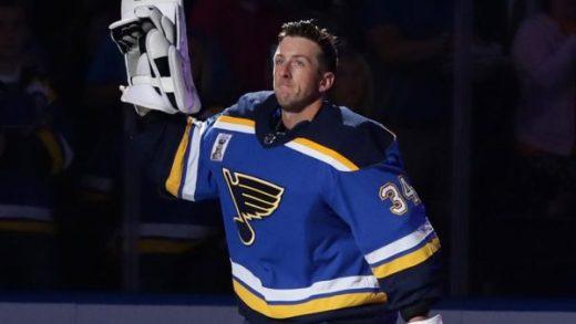 Jake Allen waves to Blues fans
