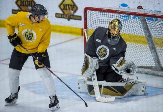 Marc-Andre Fleury in practice with VGK