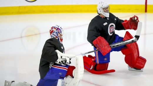 Carey Price and Jake Allen prior to practice in Canadiens' 2021 training camp. (Photo: Telegraph-Journal)