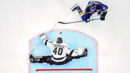 Cal Petersen overhead splits shot