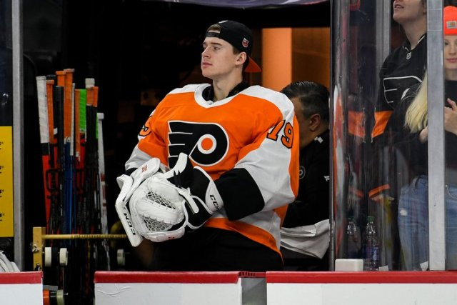 Carter Hart has had a diasppointing sophomore season for the Flyers. (Kate Frese, PhillyVoice)