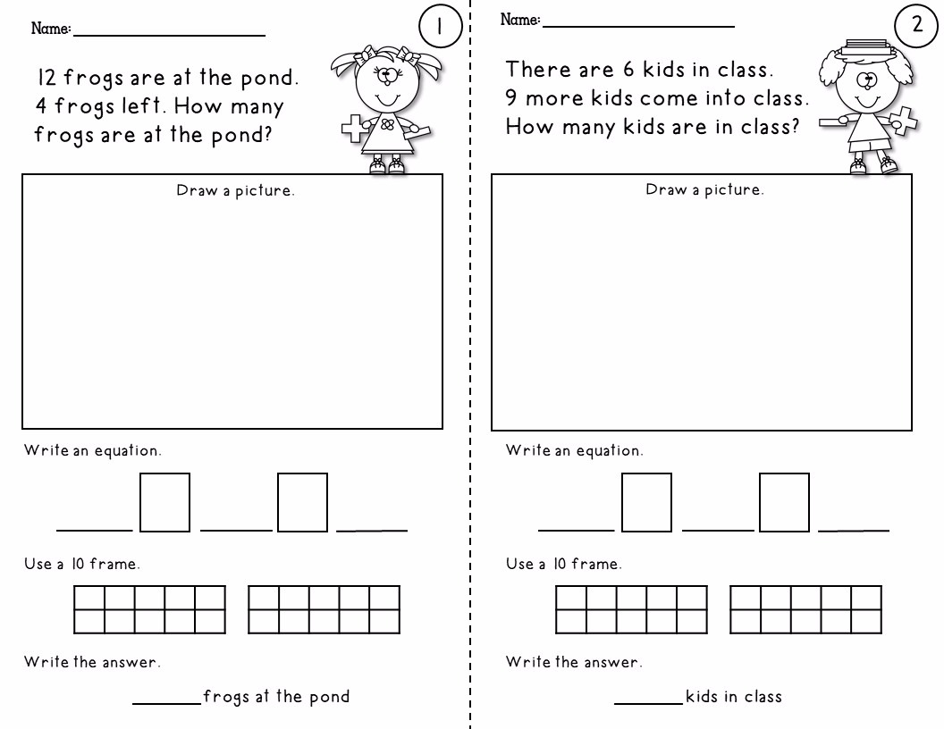 Simple Word Problem Worksheets Using Addition And