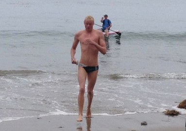 Alex Roderick at the end of Sunday's six-mile swim