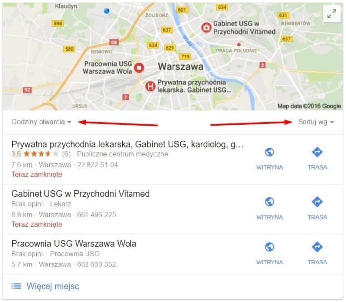 nowe opcje sortowania w lokalnych wynikach wyszukiwania