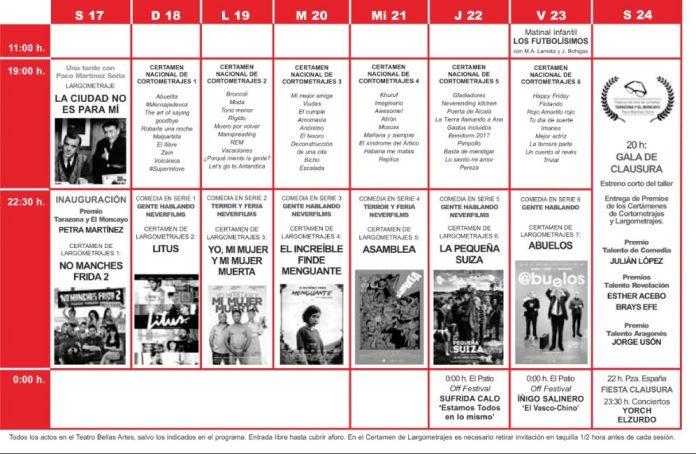 Programación festival de cine de comedia 2019 en Tarazona