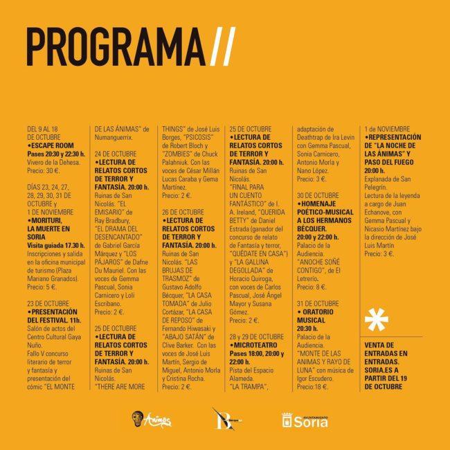 PROGRAMA FESTIVAL DE LAS ÁNIMAS SORIA 2020