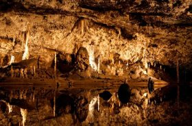 Cave with many stalagmites and stalactites
