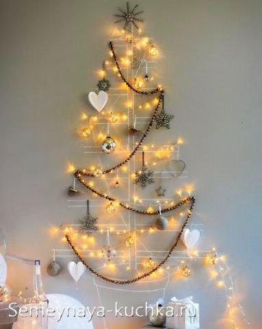 Рождестволық ағаш гирляндтардан қабырғаға