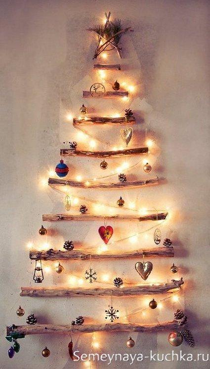 elka-nastene5 Елка на стене: необычная елка своими руками. Новогодняя елочка из сухих веток, деревянных палок и коряг