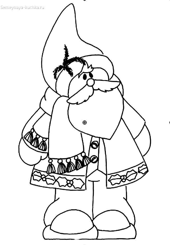 Раскраска шубка деда мороза