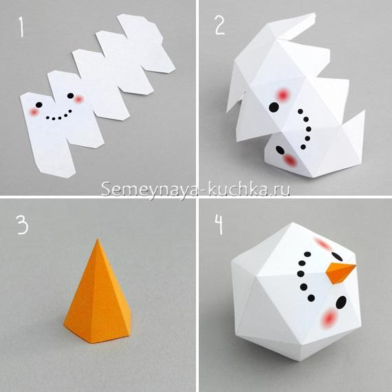 снеговик из бумаги как сделать самим