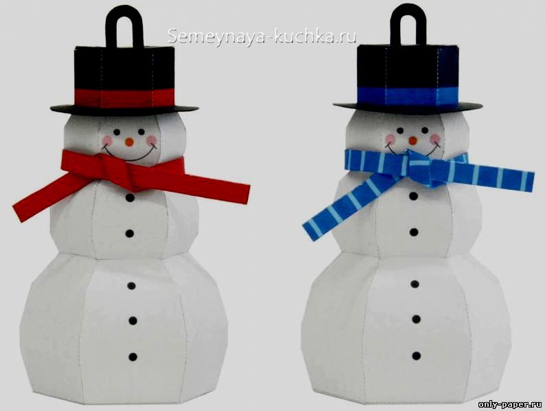 снеговики из бумаги объемные