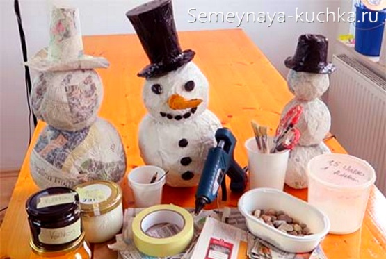 снеговик из папье маше