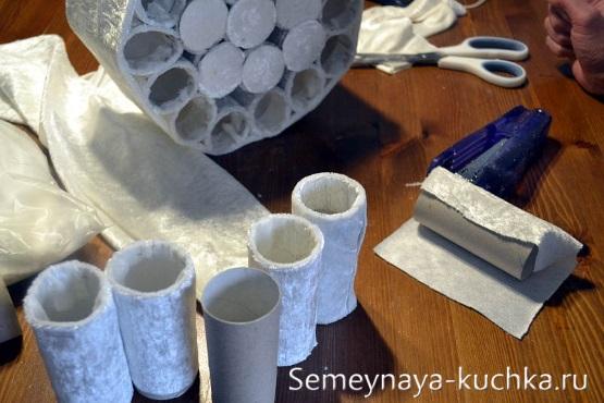 как сделать бумажного снеговика