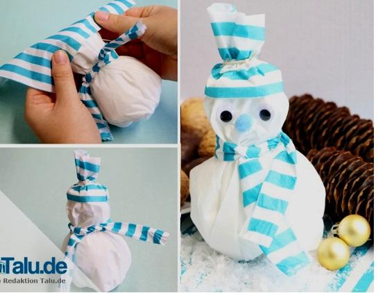 Người tuyết làm bằng khăn giấy
