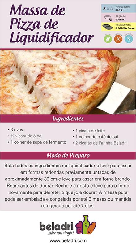 Receita Massa de Pizza de Liquidificador sem Glúten