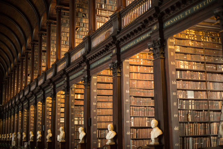 The famous Long Room at the Trinity College Library, Dublin.