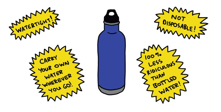 drawing of a cheesy advertisement for a water bottle