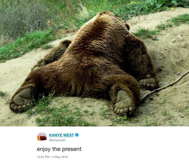 enjoy the present - kanye west tweets with photos of bears